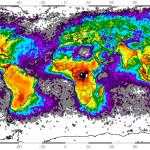 Частота ударов молний в год на квадратный километр
